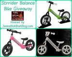 Three Strider Balance Bikes, one in pink, gray, and green on a giveaway button with wording about the strider balance bike giveaway