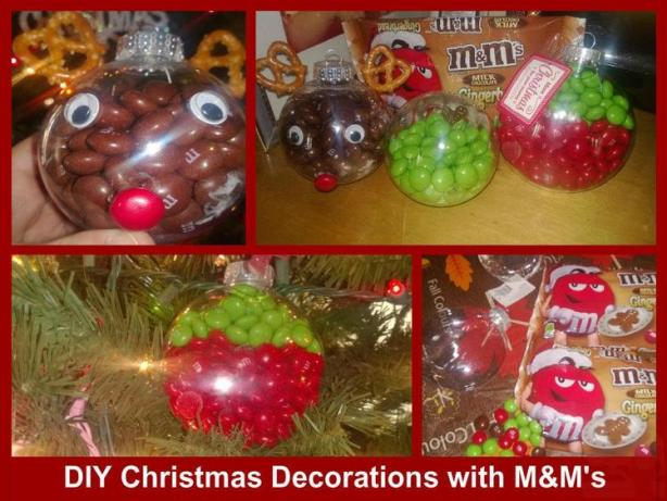 three different homamde chrismas decorations hanging on a tree, reigndeer using m&ms, and green and red decoations Sweet & Easy Decorations for Christmas Using Holiday M&Ms Easy Decorations