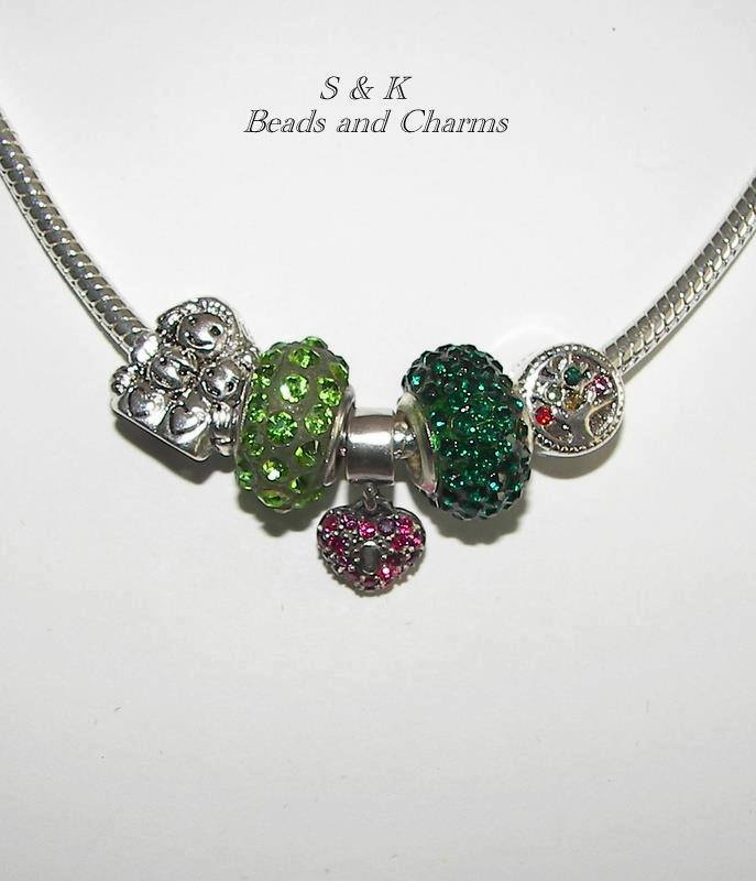 green handmade beads on a silver chain  Instantly Falling Head over Heels for S & K Charms and Beads