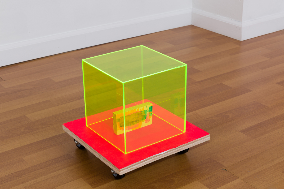 Chuck Nanney - mobile brain in a box, 2014, acrylic on plywood, casters, acrylic on pine, plexiglass, 3 parts: 12 x 12 x 3 1/4 inches (base), 8 x 8 x 8 inches (box), 2 1/2 x 4 3/4 x 3/4 inches (oracle)
