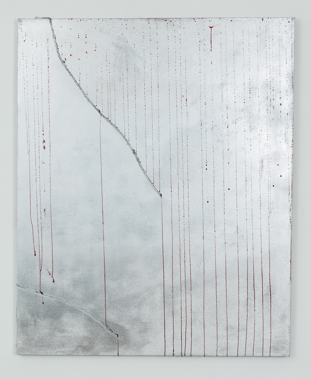Mathieu Malouf - Untitled, 2014, spray paint, fiber, and fake blood on canvas, 40 x 32 inches