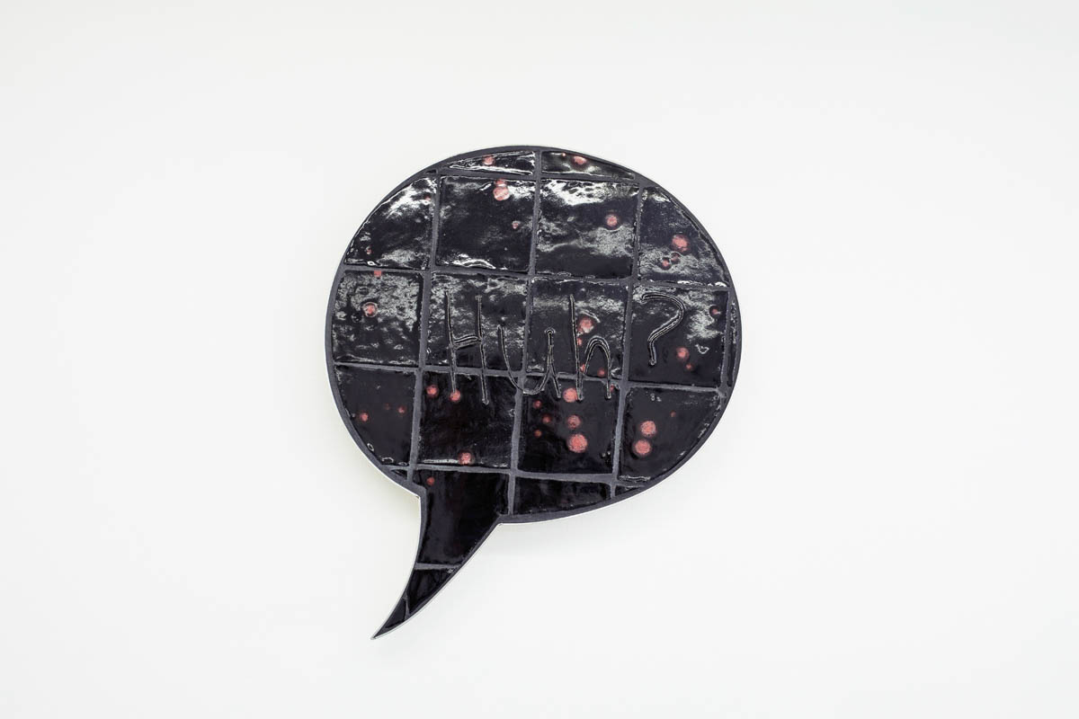 Liz Craft - Huh?, 2015, glazed ceramic, stainless steel, 24 x 31 x 3 inches
