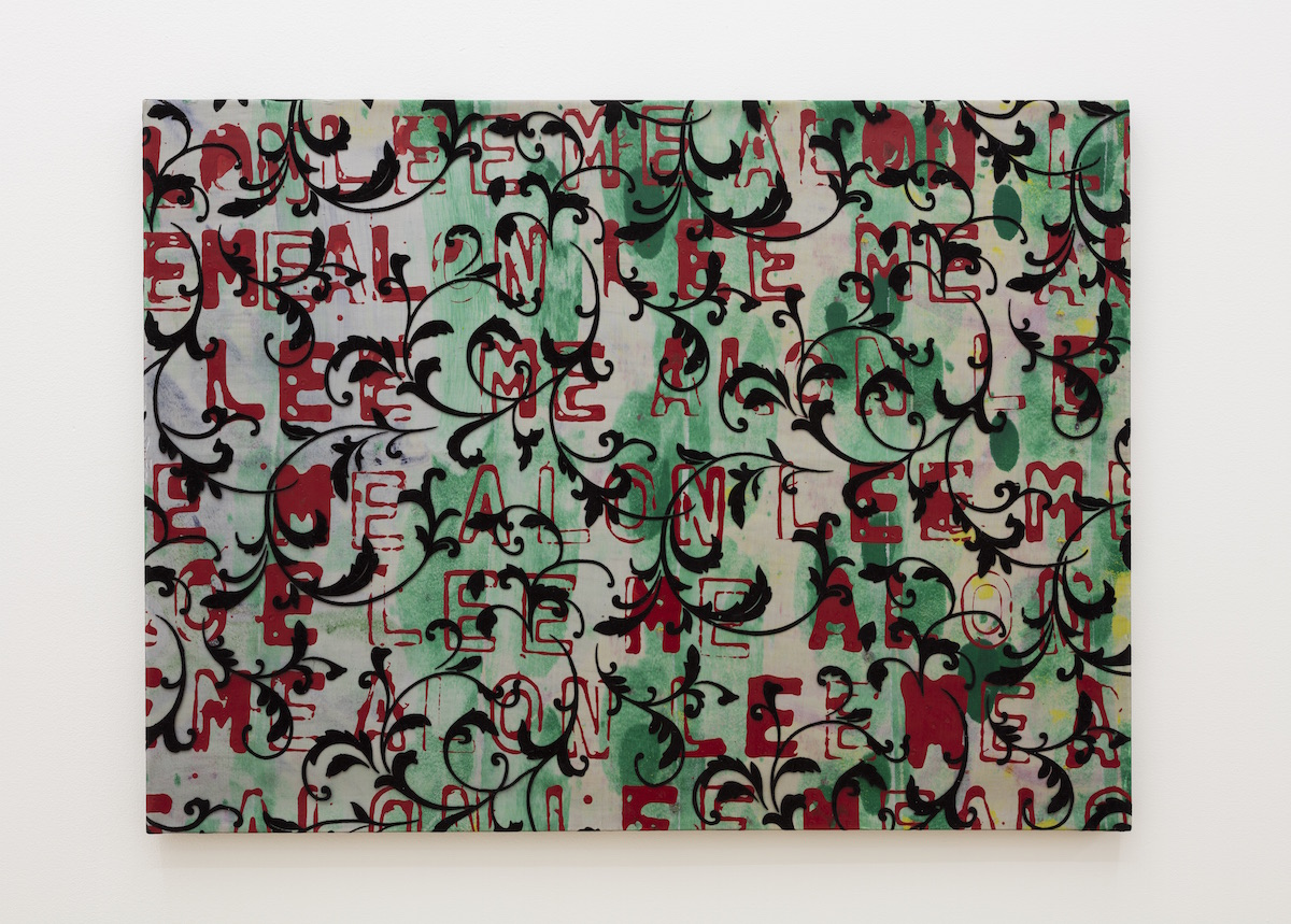 Eirik Sæther - LON LEE ME ALON L, 2015, lacquer, acrylic and polyester curtain on canvas, 31 x 23 inches