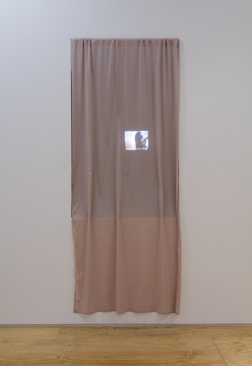 Eirik Sæther - INNESTEMME, 2015, digital video loop, polyester curtain, dimensions variable