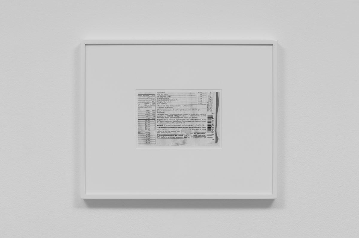 Carter Seddon - Wellness Formula, 2015, archival inkjet print, 11 ¾ x 14 ½ inches framed