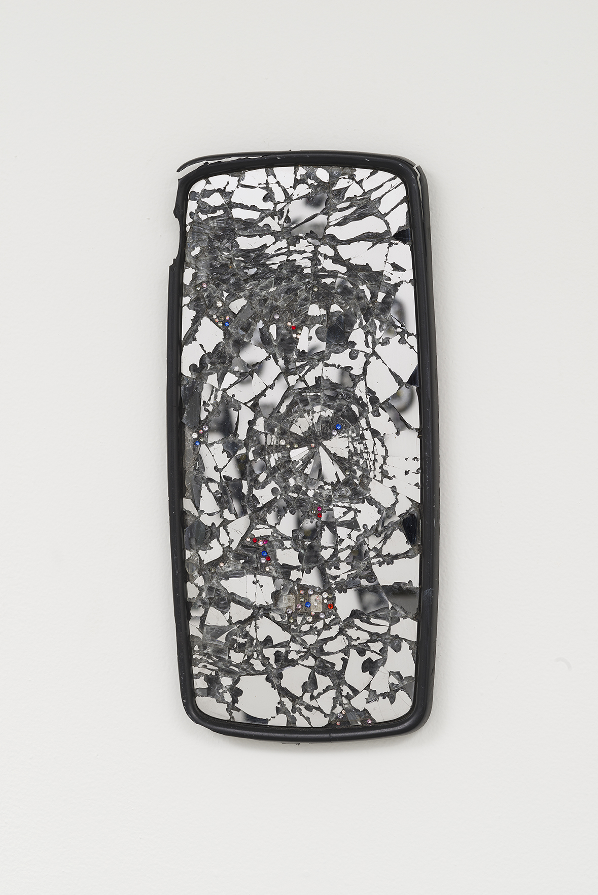 - Cave Mall, 2015, rearview mirror, crystals, 17 x 8 inches