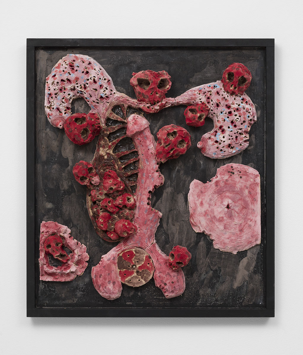 Richard Hawkins - Matriphagous Brood, 2015, glazed ceramic in artist's frame, 25 ¾ x 22 ¾ x 3 ½ inches