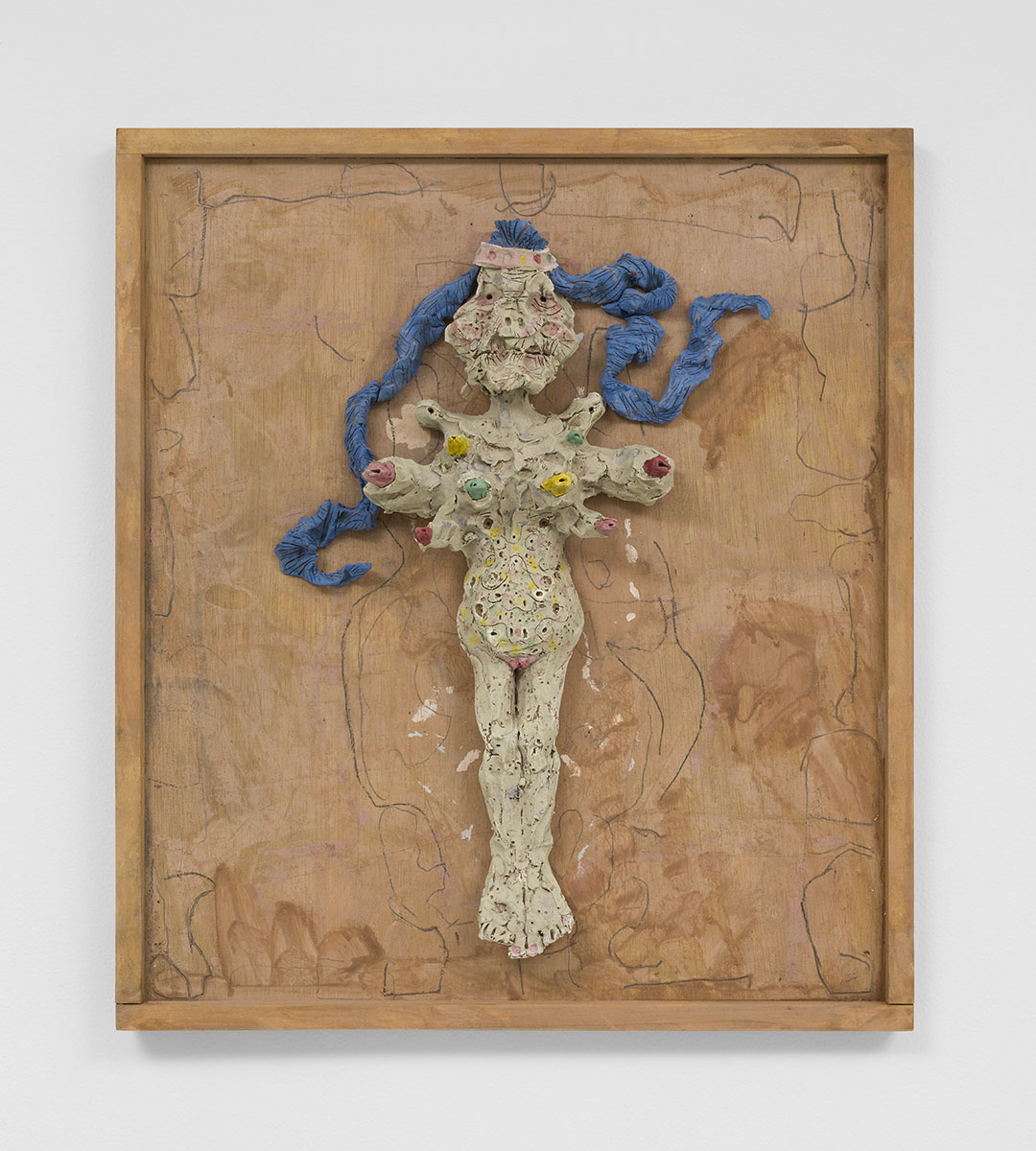 Richard Hawkins - Overmaiden Goddess, 2015, glazed ceramic in artist's frame, 25 ¾ x 22 ¾ x 5 inches