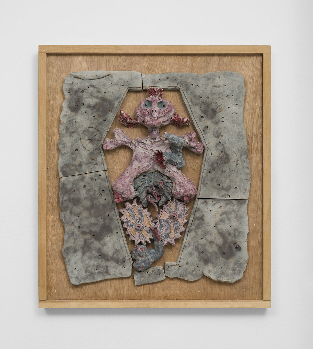 Richard Hawkins - The Eunuchthizing Priestess, 2015, glazed ceramic in artist's frame, 25 ¾ x 22 ¾ x 4 inches