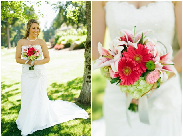 Pink and Green Bridal Bouquet by Jen's Blossoms || photo by Jeff Marsh