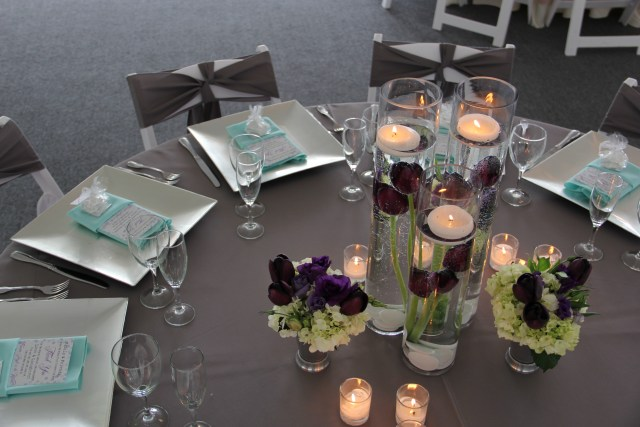 Mint Gray and Purple Table Design