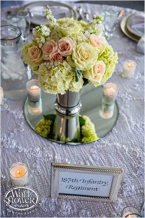 Hydrangea & Rose Centerpiece at Chambers Bay || Flowers By: Jen's Blossoms || Photo By: WallflowerPhoto