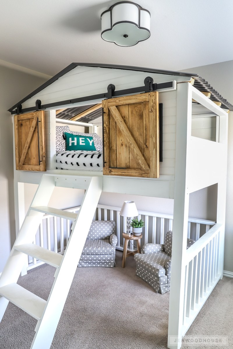 Ideal How To Build A Diy Sliding Barn Door Loft Bed How To Build A
