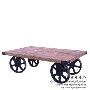 Gerobak Coffee Table Industrial Wheeled Cart
