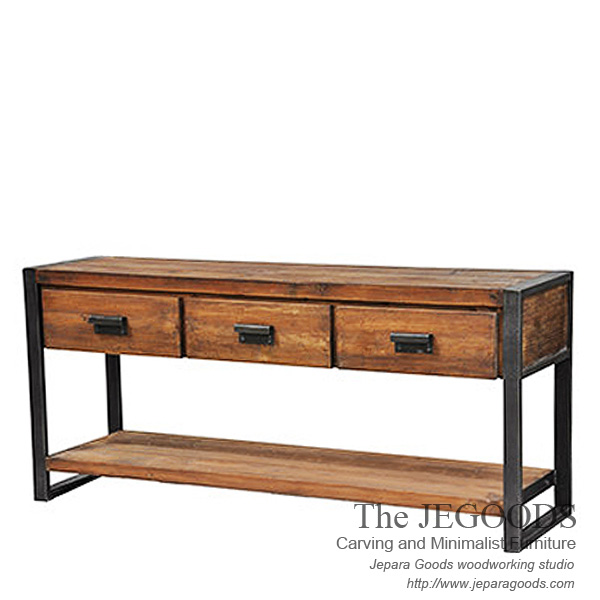Iron Wood Console Table By Jegoods Woodwork Mebel Industrial Jepara