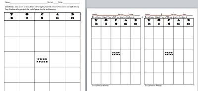 Image of Vocab Bingo Board