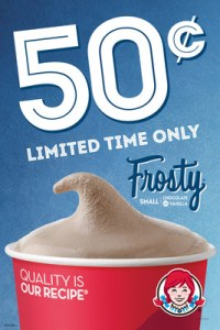 Wendy's is letting fans cool off with a sweet deal this summer. For a limited time only, consumers can head to participating Wendy's to get their hands on a small Frosty for only 50 cents. Made with quality ingredients like real cream and fresh milk, they're the best way to beat the heat during the sweltering summer. (PRNewsFoto/The Wendy's Company)