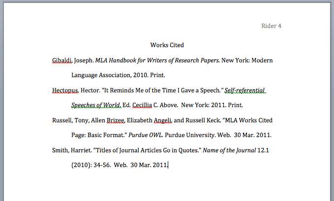 Mla format research papers work cited