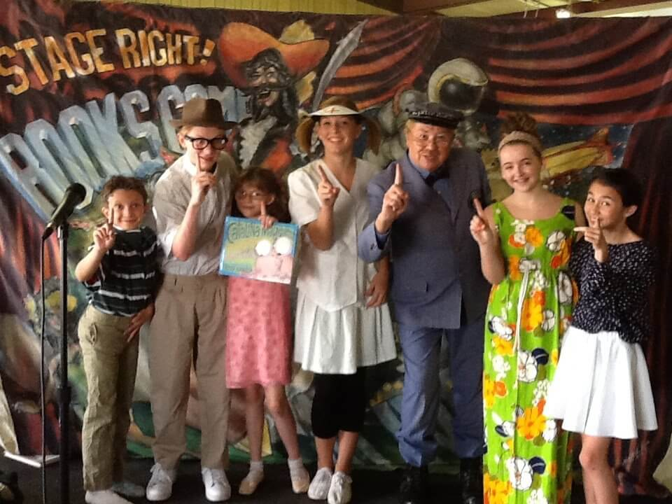 The cast for Catalina Magdalena Hoopensteiner Wallendeiner Hogan Bogan Logan Was Her Name poses with Mr. McFeely (David Newell) at the Fayette County Fair, Jun 17.