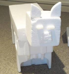 Minecraft pig. Foam. Carolyn Jerz, 2013. On loan to the Westmoreland Museum of American Art
