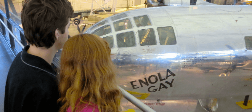 This plane dropped an atomic bomb on Hiroshima August 6, 1945. On display at the huge Udvar-Hazy Center in Chantilly, Virginia (an annex of the National Air and Space Museum).