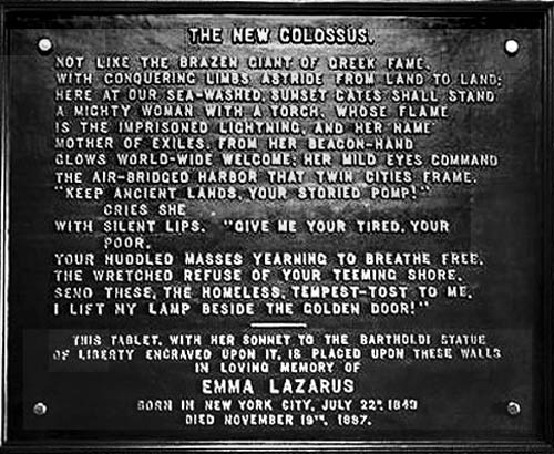 Statue of Liberty Plaque