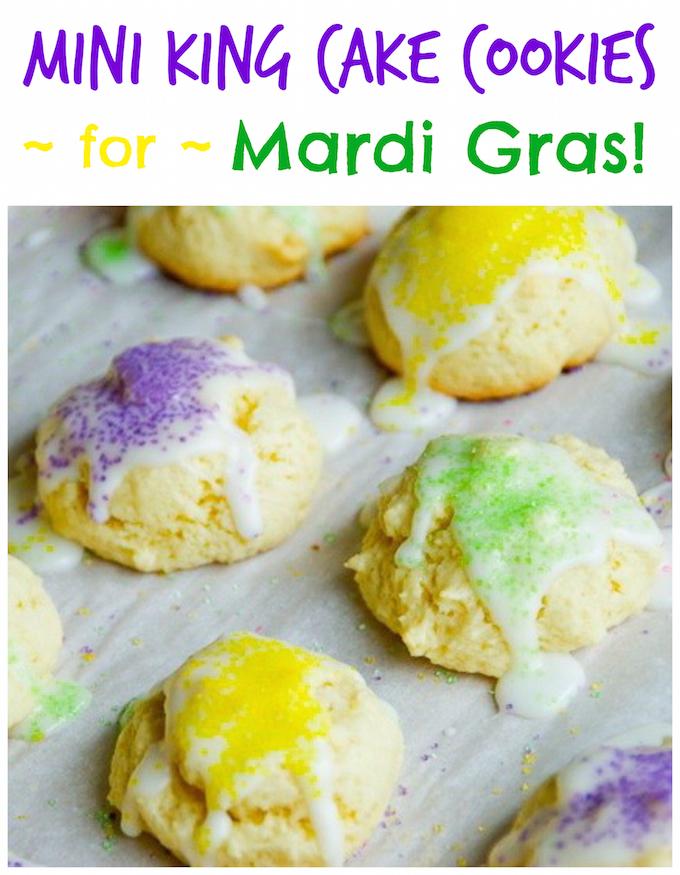 Mini King Cake Cookies for Mardi Gras