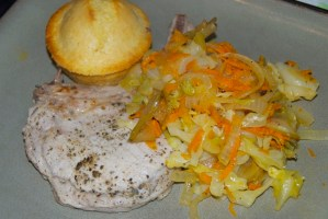Sage-Rubbed Pork Chops with Warm Apple Slaw