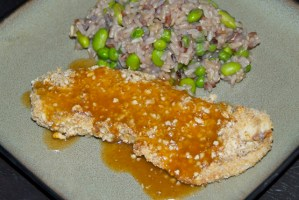 Almond Crusted Bass with Warm Coconut Peanut Sauce