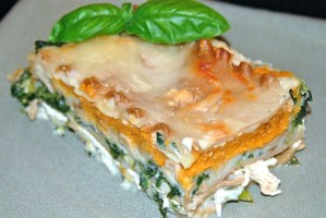 White Chicken Lasagna with Pumpkin and Spinach