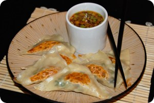 SRC: Veggie Potstickers with Spicy Soy Dipping Sauce