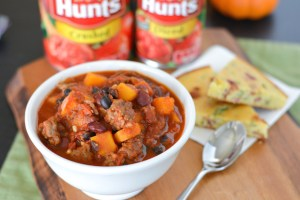 Smoky Chipotle Butternut and Sausage Chili