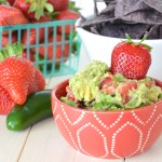 This Strawberry Jalapeno Guacamole is sweet and spicy, perfect for scooping up with salty tortilla chips. Try this recipe for Cinco de Mayo and then make it all summer with fresh, ripe strawberries!