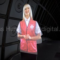 Female London Underground hologram gives commuters safety instructions for the escalator. She also has coffee thrown over her. Jubillee Line. London.  © Jess Hurd/reportdigital.co.uk