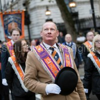 The Orange Order march to the Cenotaph on Remembrance Day, Whitehall, London.