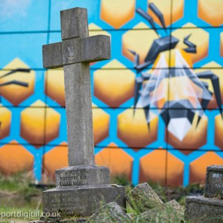 Bee graffiti by Annatomix in Tower Hamlets Cemetery Park, Tower Hamlets, East London.