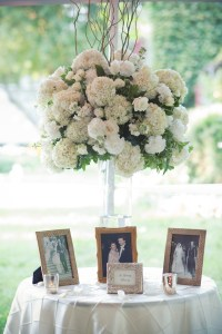 Tent Wedding with White Hydrangea Florals - Image by: Meredith Rogers Photography | http://jessicadum.com/portfolio/hannah-terrence/