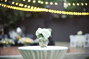Outdoor Wedding with White hydrangeas and Bistro Lighting - Image by: Meredith Rogers Photography | http://jessicadum.com/portfolio/hannah-terrence/