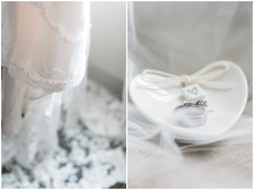 Lace Wedding Dress + Wedding Rings | Downtown Indianapolis and CANAL 337 Wedding by Cory + Jackie Photography & Jessica Dum Wedding Coordination