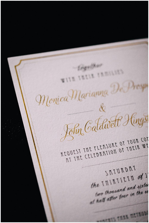 Gold wedding invitations | Downtown Indianapolis Wedding by Caroline Grace Photography & Jessica Dum Wedding Coordination