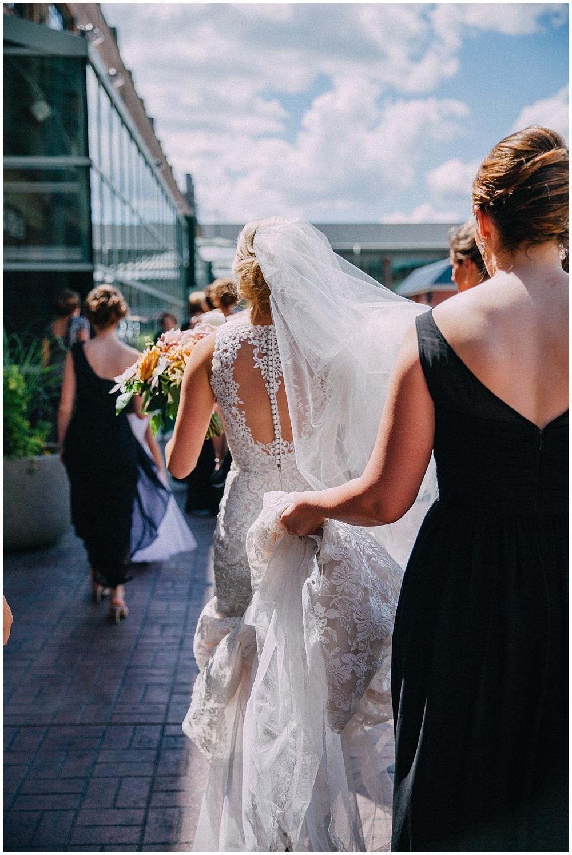 Lace back wedding dress | Downtown Indianapolis Wedding by Caroline Grace Photography & Jessica Dum Wedding Coordination