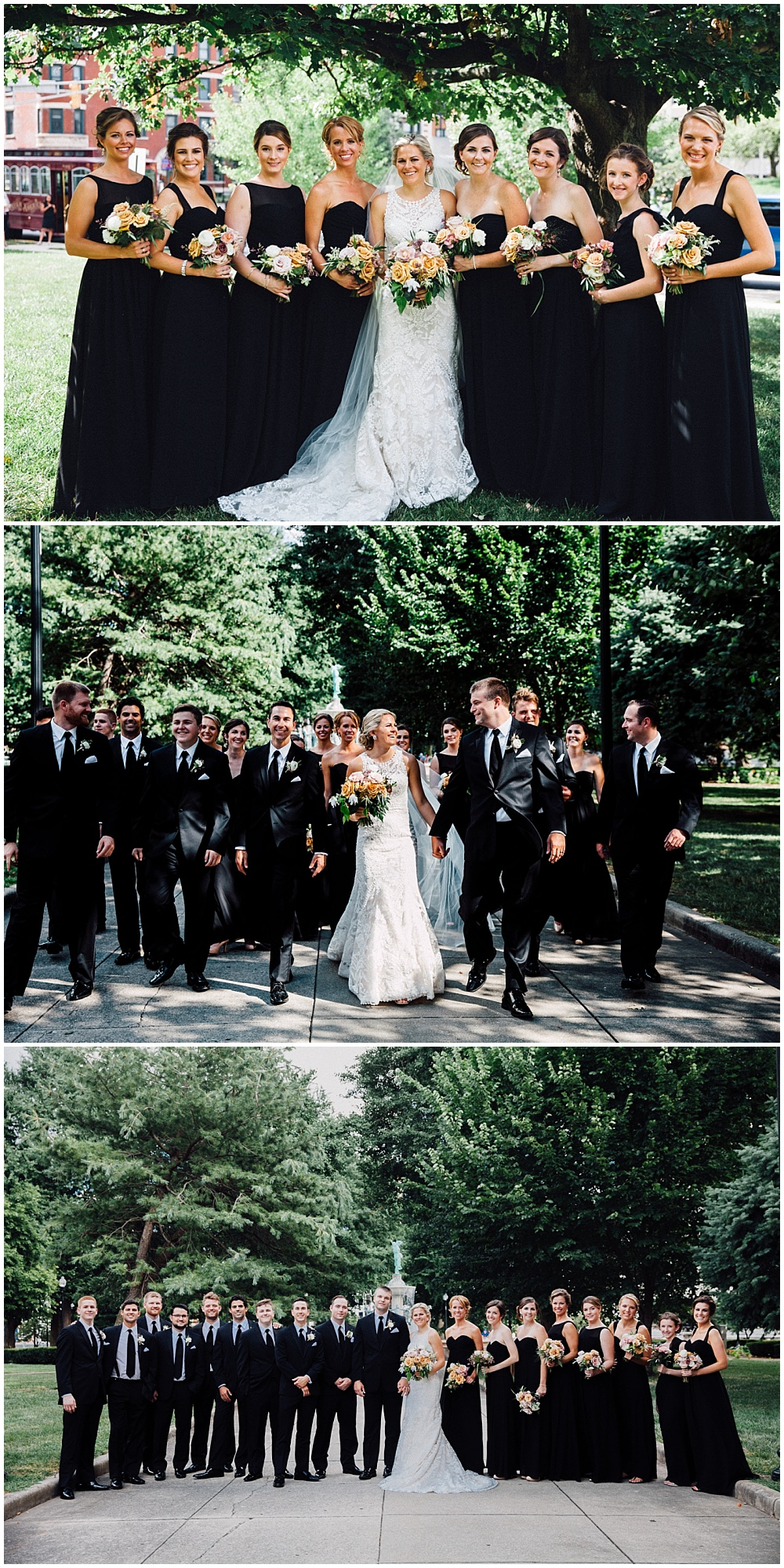 Summer wedding. Lace wedding dress and black bridesmaid dresses | Downtown Indianapolis Wedding by Caroline Grace Photography & Jessica Dum Wedding Coordination