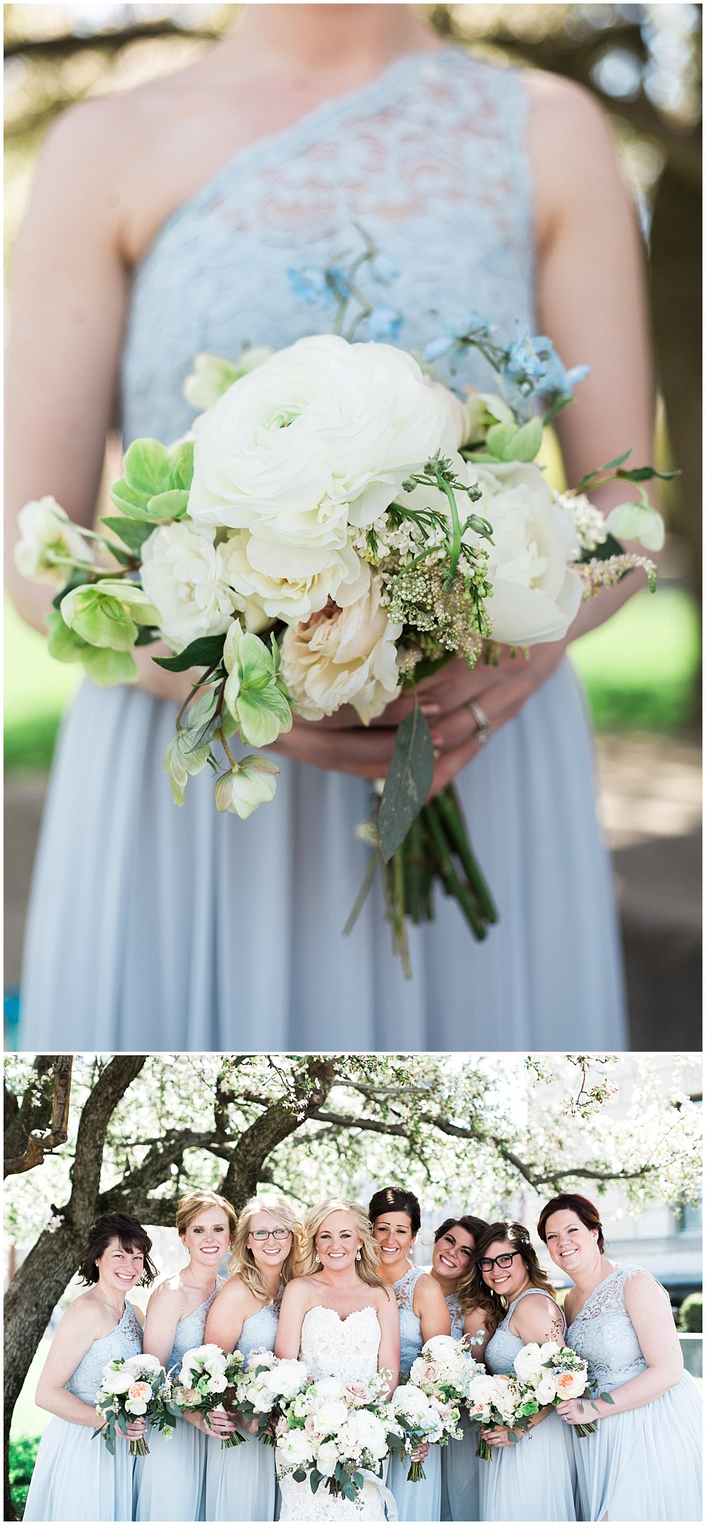 Light blue bridesmaid dresses with blush wedding bouquets | Downtown Indianapolis Wedding by Gabrielle Cheikh Photography & Jessica Dum Wedding Coordination