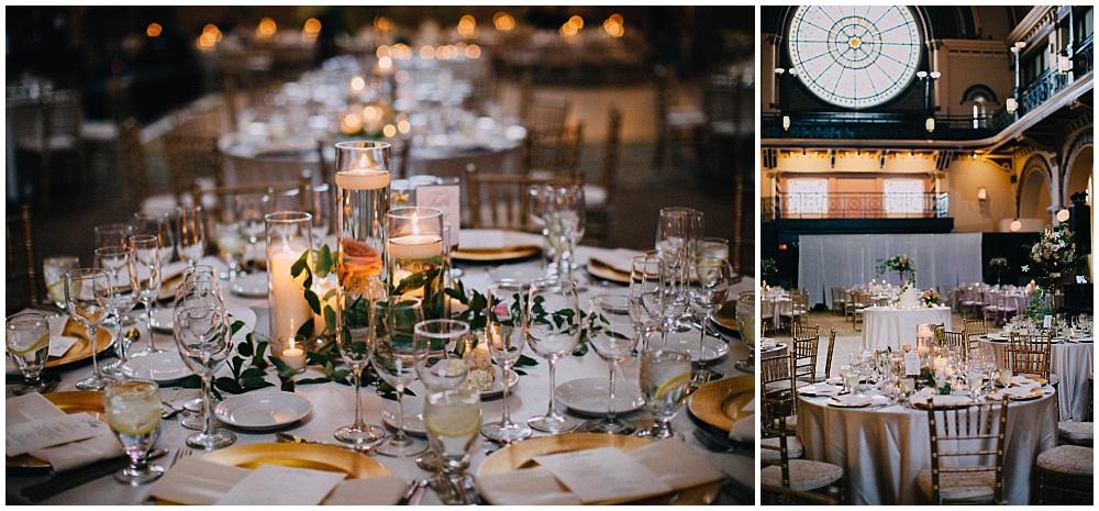 Simple wedding centerpieces with gold accents | Downtown Indianapolis Wedding by Caroline Grace Photography & Jessica Dum Wedding Coordination
