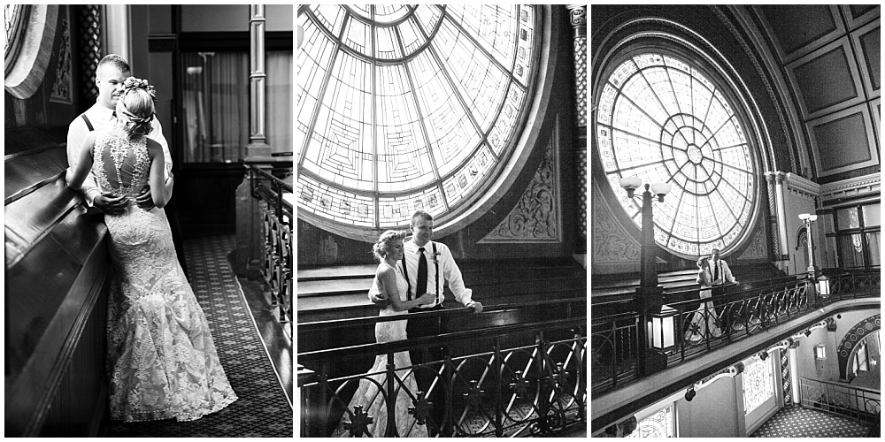 Bride and Groom, black and white portraits | Downtown Indianapolis Wedding by Caroline Grace Photography & Jessica Dum Wedding Coordination