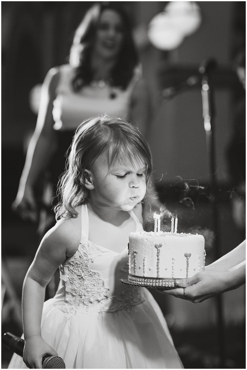 Surprise Flower Girl Birthday Cake | Downtown Indianapolis Wedding by Gabrielle Cheikh Photography & Jessica Dum Wedding Coordination