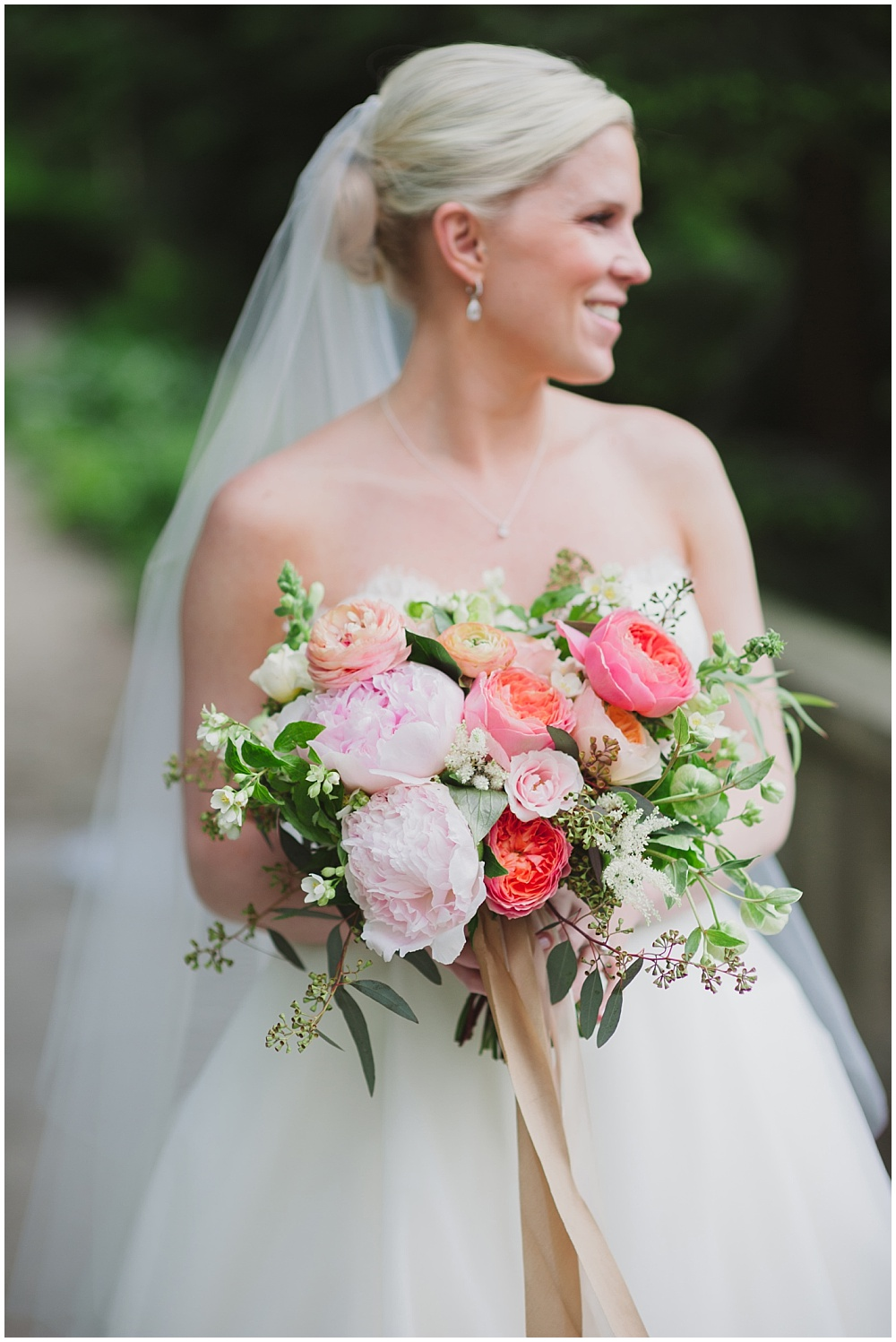 Blush, pink and green spring bridal bouquet | Ritz Charles Garden Pavilion Wedding by Stacy Able Photography & Jessica Dum Wedding Coordination