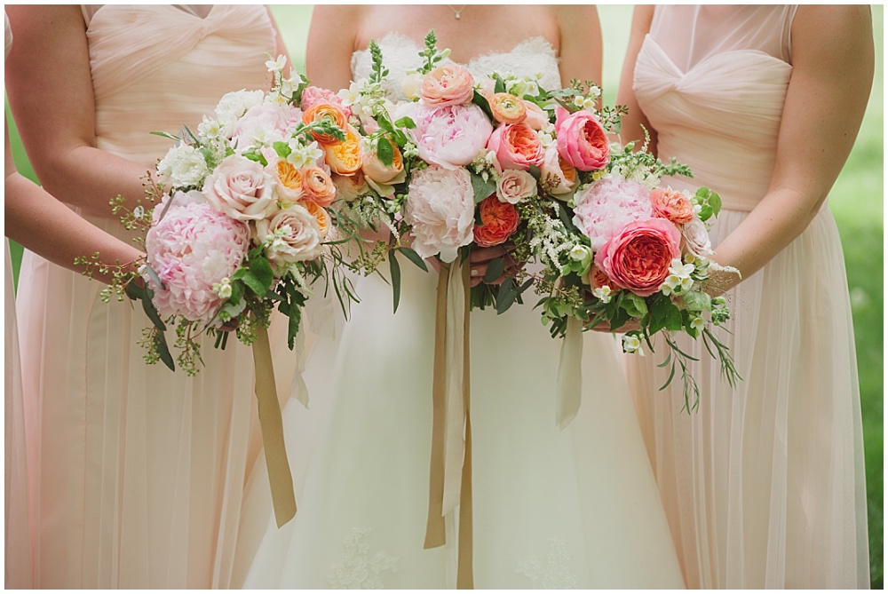 Blush Amsale bridesmaid dresses with blush, pink and green bouquets | Ritz Charles Garden Pavilion Wedding by Stacy Able Photography & Jessica Dum Wedding Coordination