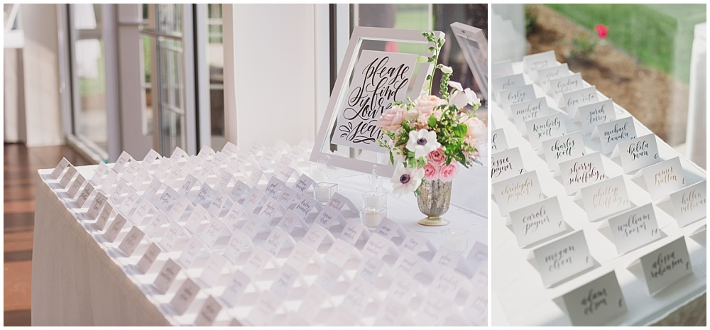 Hand lettered escort cards | Ritz Charles Garden Pavilion Wedding by Stacy Able Photography & Jessica Dum Wedding Coordination