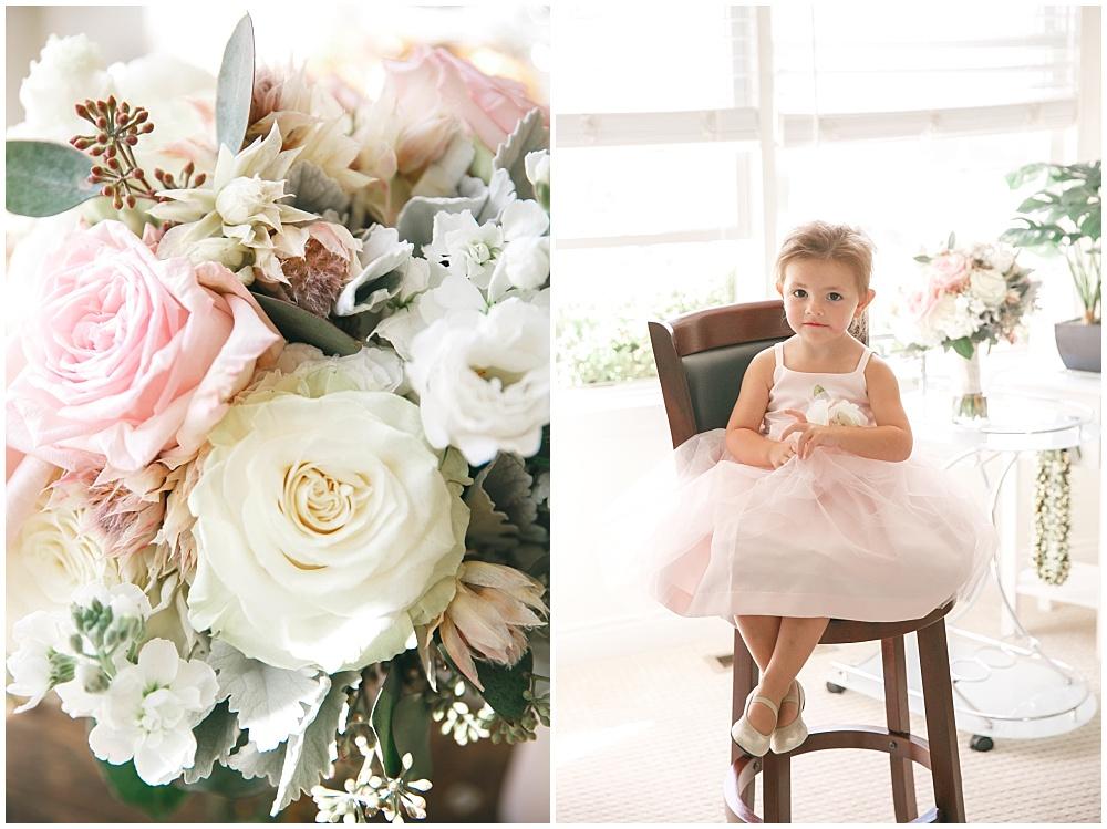 Blush flower girl dress and wedding bouquet | Family Farm wedding by SB Childs Photography & Jessica Dum Wedding Coordination